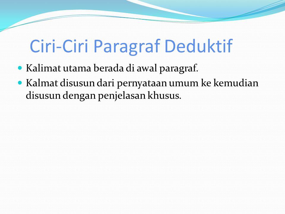 Paragraf Induktif paragraf induktif itu dikembangkan dari contoh ke hukum atau simpulan.