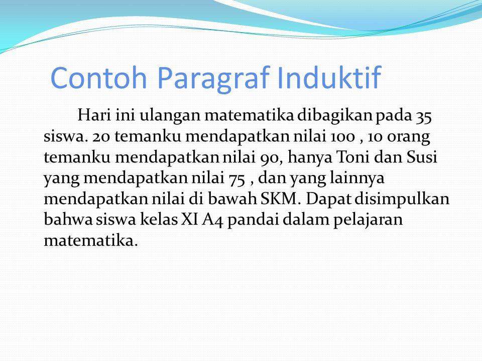 Identifikasi Paragraf Induktif  Kalimat Utama : Dapat disimpulkan bahwa siswa kelas XI A4 pandai dalam pelajaran matematika.