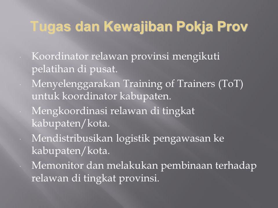 Tugas dan Kewajiban Pokja Prov  Koordinator relawan provinsi mengikuti pelatihan di pusat.  Menyelenggarakan Training of Trainers (ToT) untuk koordi