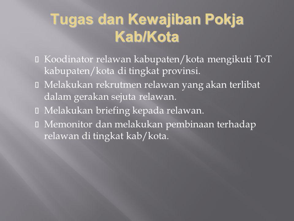 Tugas dan Kewajiban Pokja Kab/Kota Koodinator relawan kabupaten/kota mengikuti ToT kabupaten/kota di tingkat provinsi. Melakukan rekrutmen relawan yan