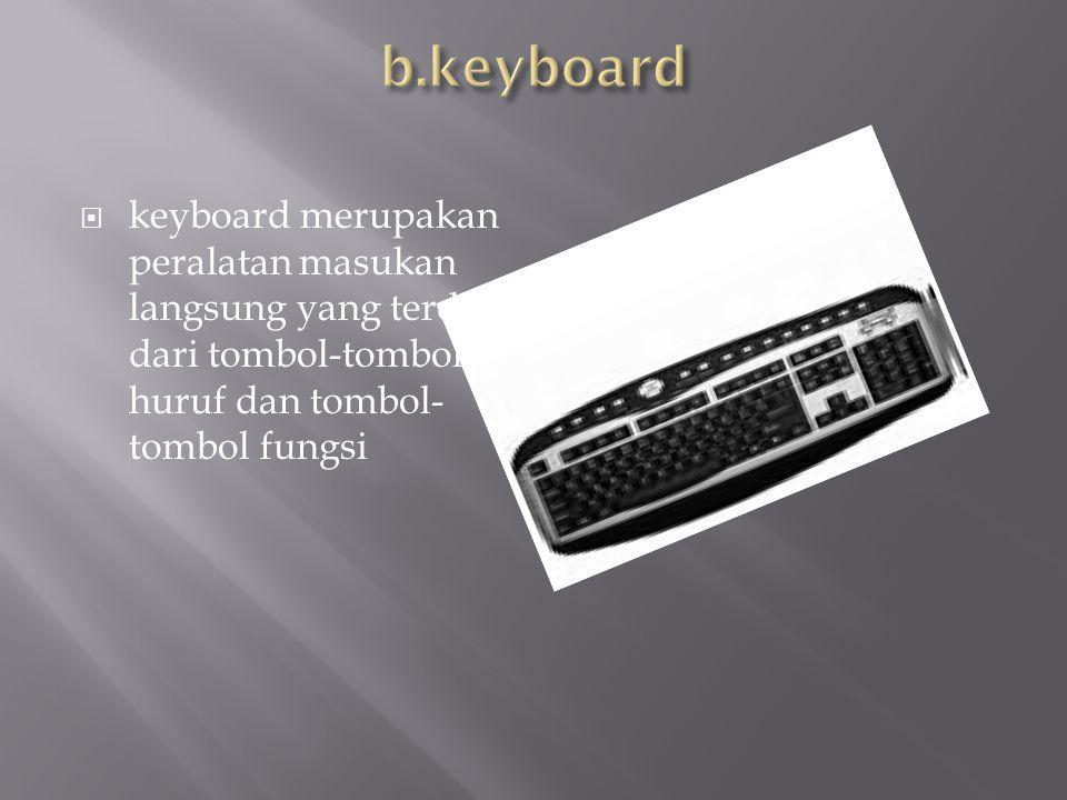  keyboard merupakan peralatan masukan langsung yang terditri dari tombol-tombol huruf dan tombol- tombol fungsi