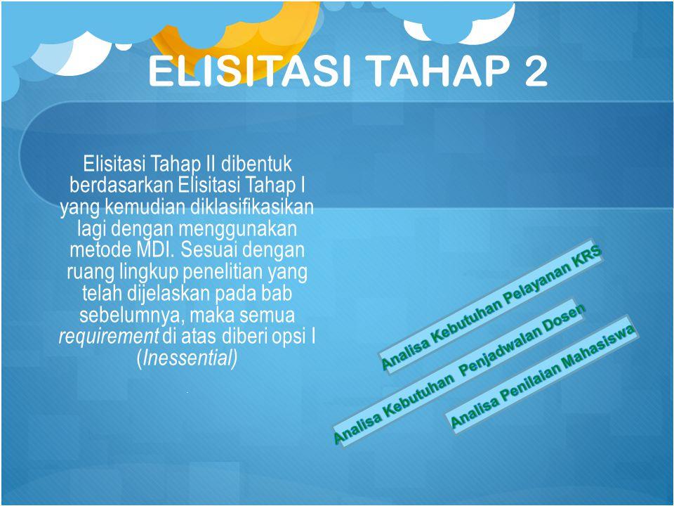 ELISITASI TAHAP 2 Elisitasi Tahap II dibentuk berdasarkan Elisitasi Tahap I yang kemudian diklasifikasikan lagi dengan menggunakan metode MDI.
