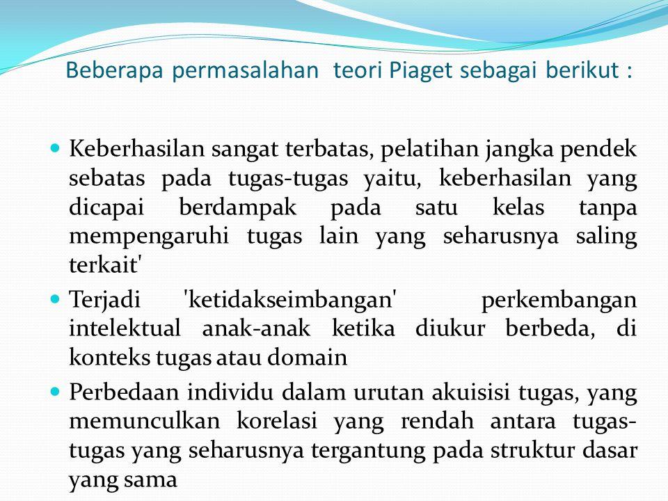 Beberapa permasalahan teori Piaget sebagai berikut : Keberhasilan sangat terbatas, pelatihan jangka pendek sebatas pada tugas-tugas yaitu, keberhasila