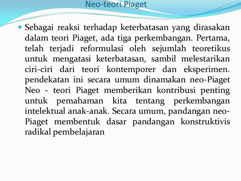 Neo-teori Piaget Sebagai reaksi terhadap keterbatasan yang dirasakan dalam teori Piaget, ada tiga perkembangan. Pertama, telah terjadi reformulasi ole