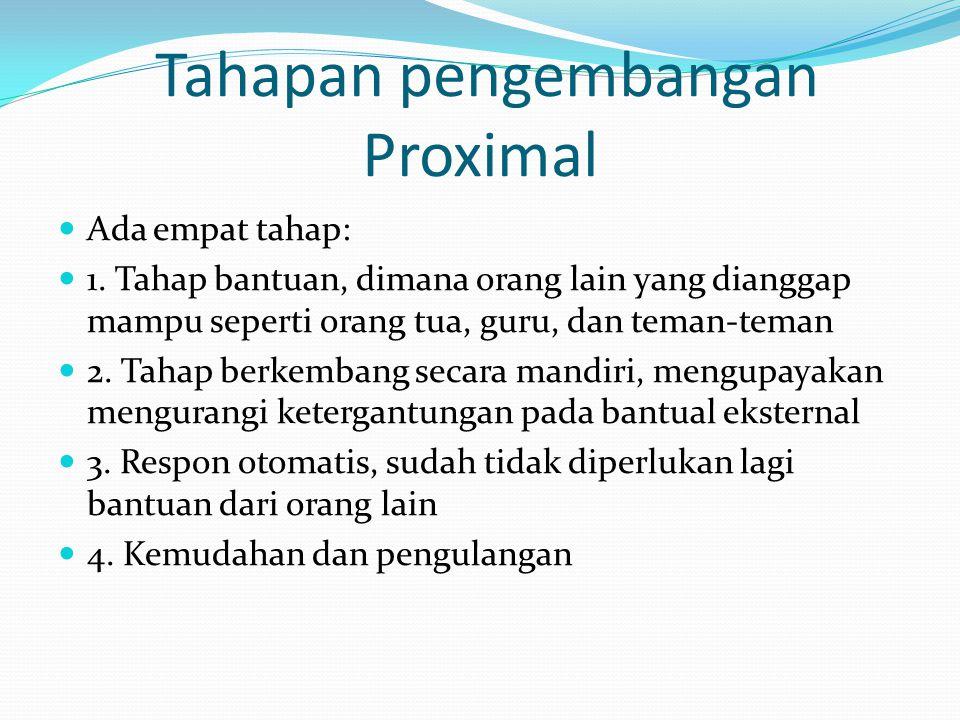 Tahapan pengembangan Proximal Ada empat tahap: 1. Tahap bantuan, dimana orang lain yang dianggap mampu seperti orang tua, guru, dan teman-teman 2. Tah