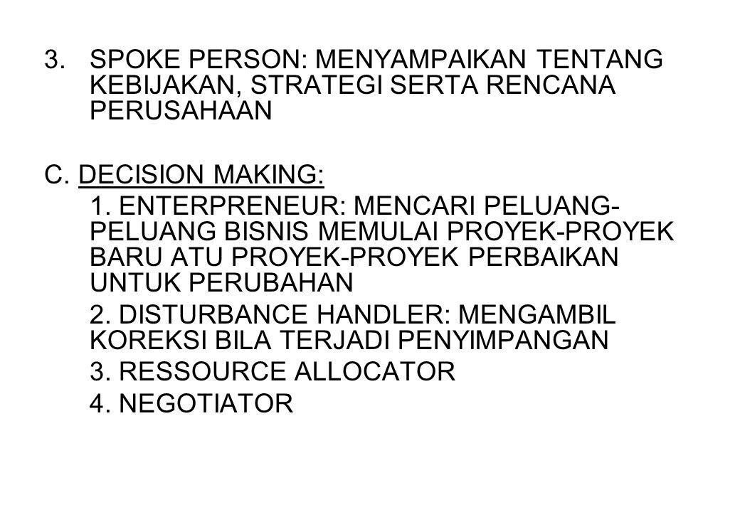 3.SPOKE PERSON: MENYAMPAIKAN TENTANG KEBIJAKAN, STRATEGI SERTA RENCANA PERUSAHAAN C. DECISION MAKING: 1. ENTERPRENEUR: MENCARI PELUANG- PELUANG BISNIS