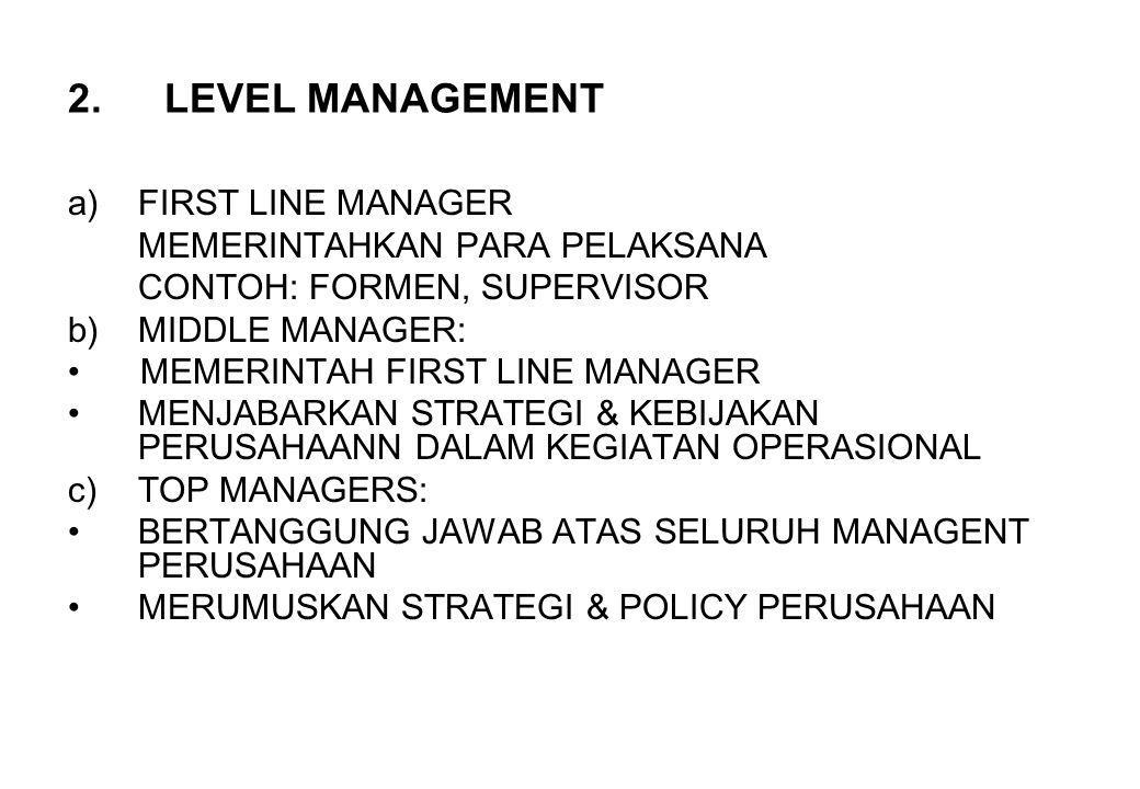 2.LEVEL MANAGEMENT a)FIRST LINE MANAGER MEMERINTAHKAN PARA PELAKSANA CONTOH: FORMEN, SUPERVISOR b)MIDDLE MANAGER: MEMERINTAH FIRST LINE MANAGER MENJAB