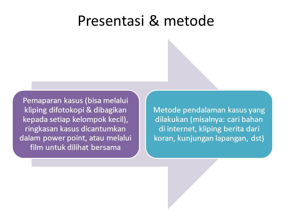 Presentasi & metode Pemaparan kasus (bisa melalui kliping difotokopi & dibagikan kepada setiap kelompok kecil), ringkasan kasus dicantumkan dalam powe