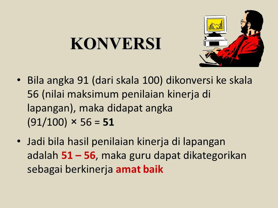 KONVERSI Bila angka 91 (dari skala 100) dikonversi ke skala 56 (nilai maksimum penilaian kinerja di lapangan), maka didapat angka (91/100) × 56 = 51 J