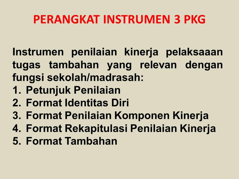 PERANGKAT INSTRUMEN 3 PKG Instrumen penilaian kinerja pelaksaaan tugas tambahan yang relevan dengan fungsi sekolah/madrasah: 1.Petunjuk Penilaian 2.Fo