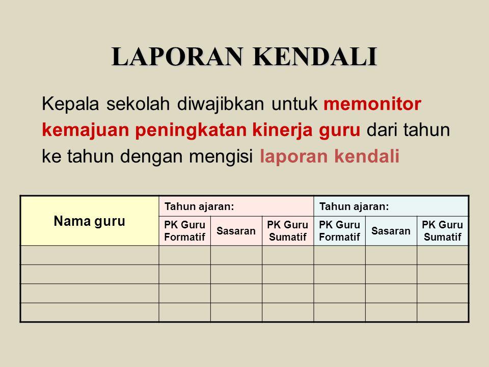 LAPORAN KENDALI Kepala sekolah diwajibkan untuk memonitor kemajuan peningkatan kinerja guru dari tahun ke tahun dengan mengisi laporan kendali Nama gu