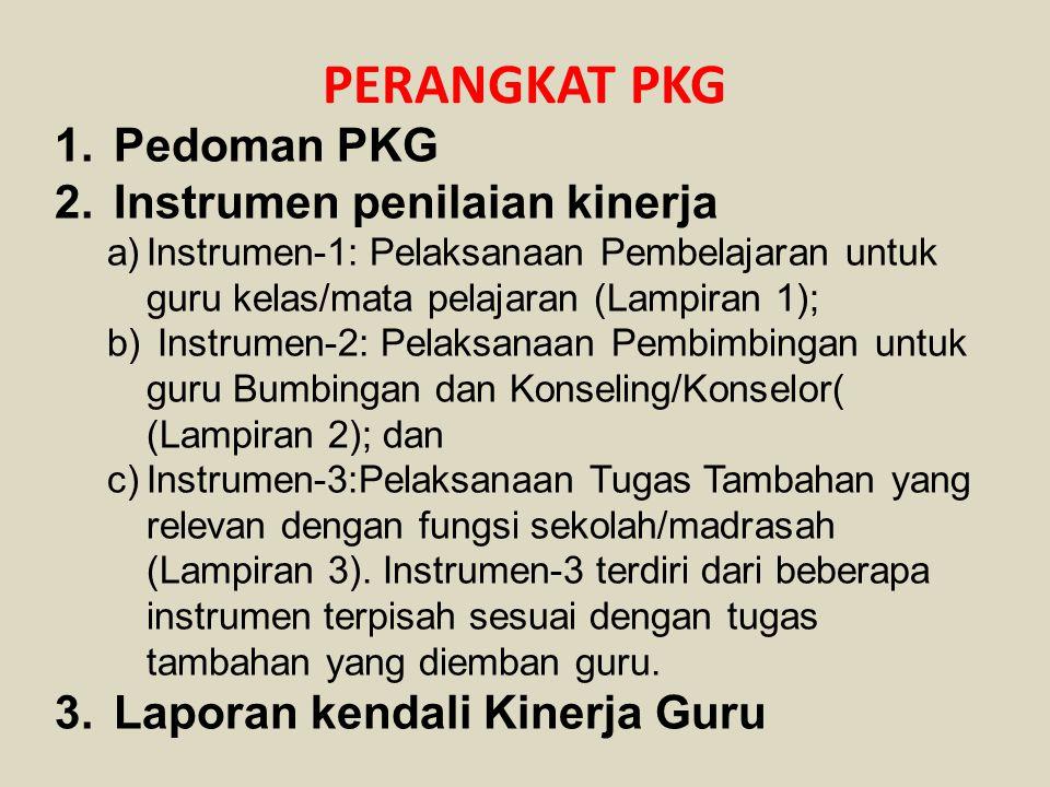 PERANGKAT PKG 1.Pedoman PKG 2.Instrumen penilaian kinerja a)Instrumen-1: Pelaksanaan Pembelajaran untuk guru kelas/mata pelajaran (Lampiran 1); b) Ins
