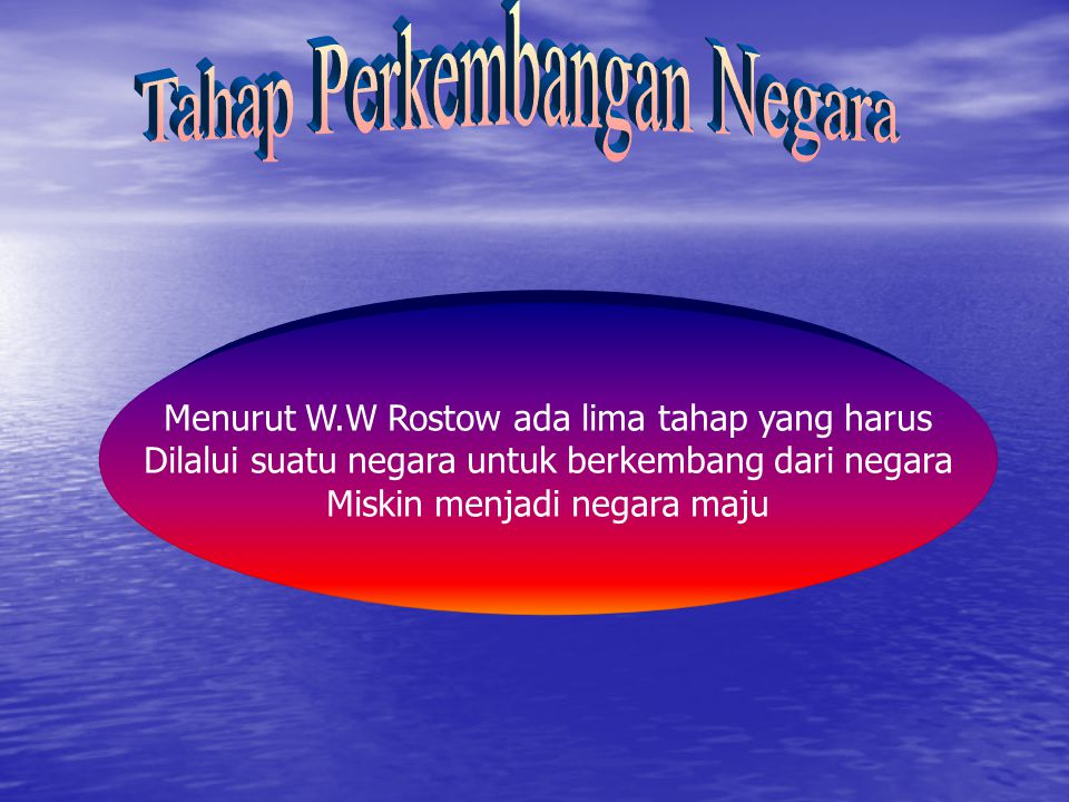 Menurut W.W Rostow ada lima tahap yang harus Dilalui suatu negara untuk berkembang dari negara Miskin menjadi negara maju
