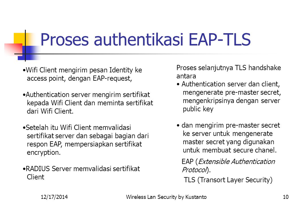 12/17/2014Wireless Lan Security by Kustanto10 Proses authentikasi EAP-TLS Wifi Client mengirim pesan Identity ke access point, dengan EAP-request, Aut