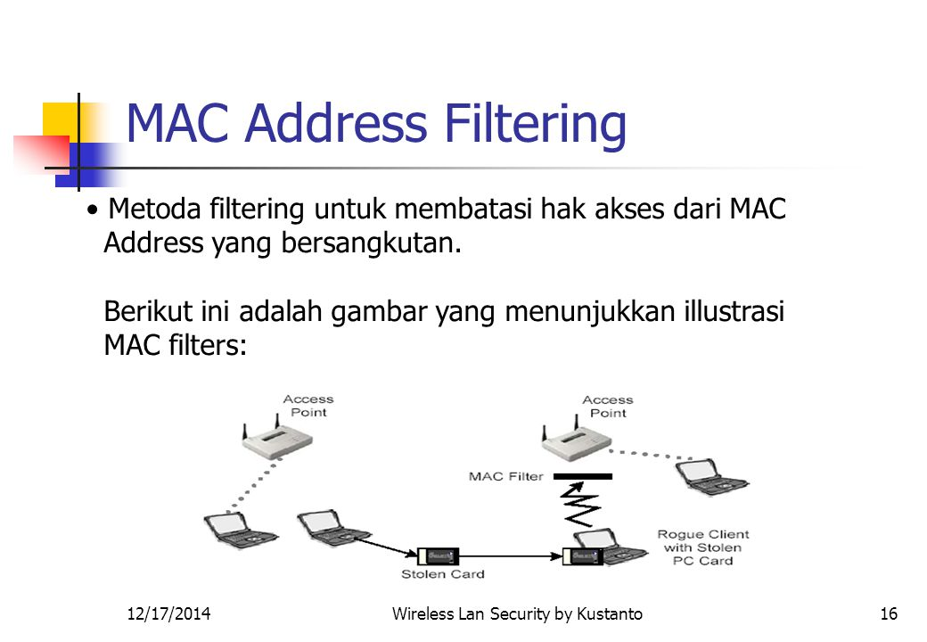 12/17/2014Wireless Lan Security by Kustanto16 MAC Address Filtering Metoda filtering untuk membatasi hak akses dari MAC Address yang bersangkutan.