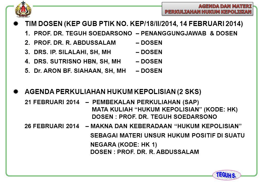  TIM DOSEN (KEP GUB PTIK NO. KEP/18/II/2014, 14 FEBRUARI 2014) 1. PROF. DR. TEGUH SOEDARSONO – PENANGGUNGJAWAB & DOSEN 2. PROF. DR. R. ABDUSSALAM – D