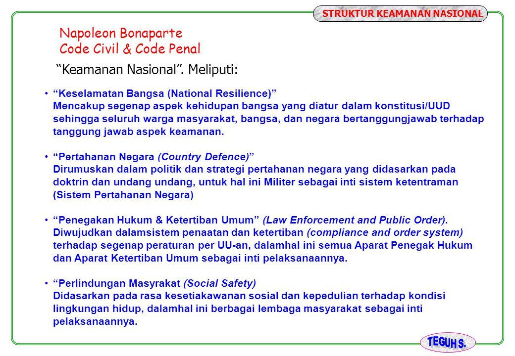 """Napoleon Bonaparte Code Civil & Code Penal """"Keamanan Nasional"""". Meliputi: """"Keselamatan Bangsa (National Resilience)"""" Mencakup segenap aspek kehidupan"""