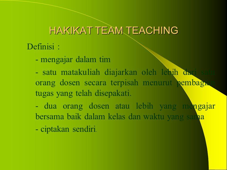 HAKIKAT TEAM TEACHING Definisi : - mengajar dalam tim - satu matakuliah diajarkan oleh lebih dari satu orang dosen secara terpisah menurut pembagian tugas yang telah disepakati.