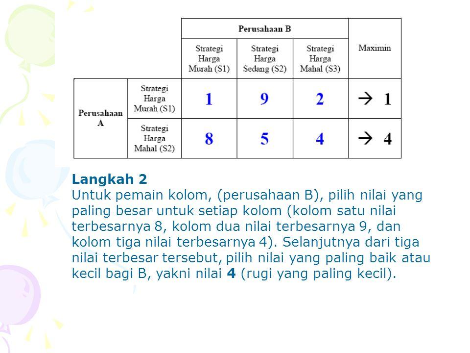 Langkah 2 Untuk pemain kolom, (perusahaan B), pilih nilai yang paling besar untuk setiap kolom (kolom satu nilai terbesarnya 8, kolom dua nilai terbes