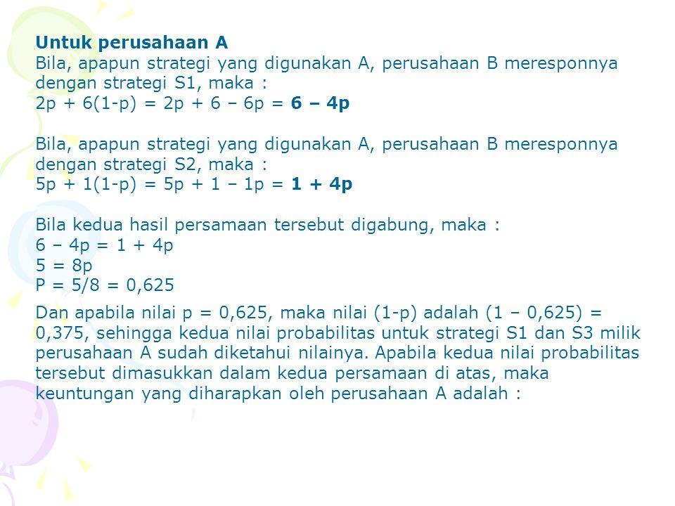 Untuk perusahaan A Bila, apapun strategi yang digunakan A, perusahaan B meresponnya dengan strategi S1, maka : 2p + 6(1-p) = 2p + 6 – 6p = 6 – 4p Bila