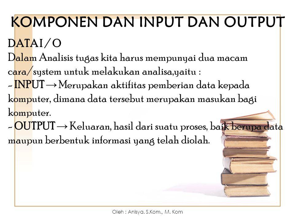 KOMPONEN DAN INPUT DAN OUTPUT DATA I / O Dalam Analisis tugas kita harus mempunyai dua macam cara/system untuk melakukan analisa,yaitu : - INPUT → Mer