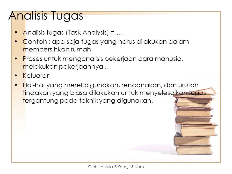 Analisis Tugas Analisis tugas (Task Analysis) = … Contoh : apa saja tugas yang harus dilakukan dalam membersihkan rumah. Proses untuk menganalisis pek