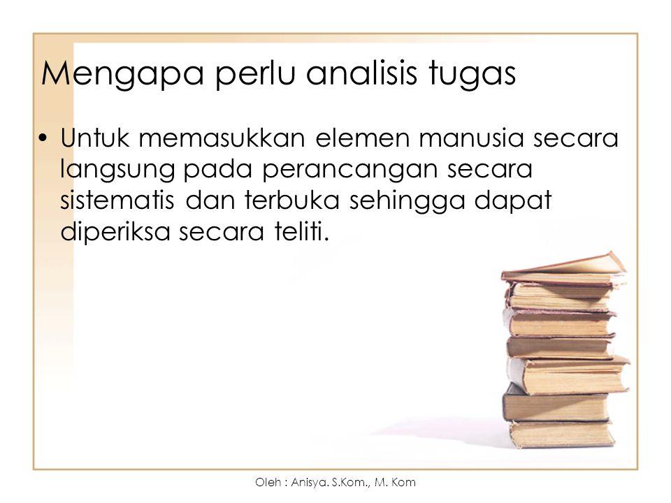 Istilah-istilah adalm analisis tugas : 1.Sasaran (external task) 2.Tugas (Internal Task) adalah 3.Aksi (action) 4.Rencana (method) Oleh : Anisya.