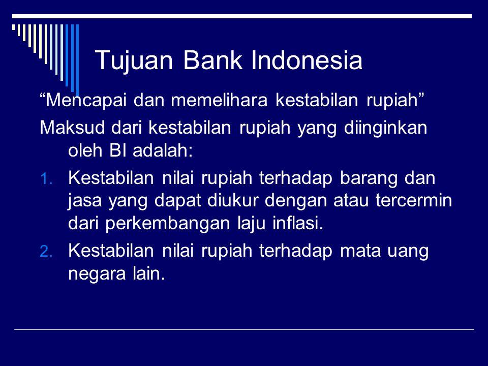 """Tujuan Bank Indonesia """"Mencapai dan memelihara kestabilan rupiah"""" Maksud dari kestabilan rupiah yang diinginkan oleh BI adalah: 1. Kestabilan nilai ru"""