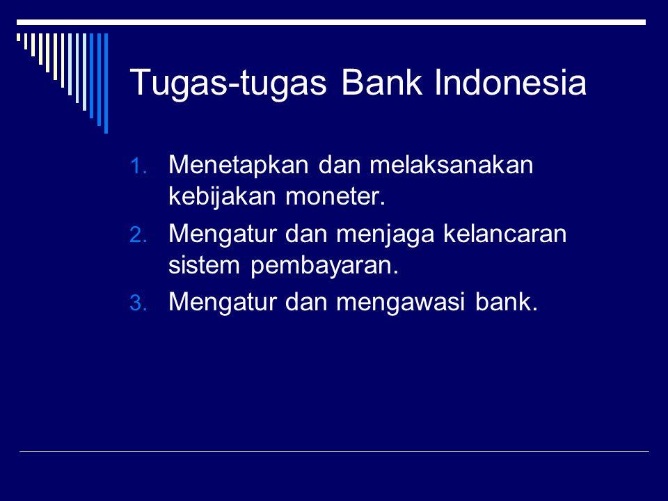 Tugas-tugas Bank Indonesia 1. Menetapkan dan melaksanakan kebijakan moneter. 2. Mengatur dan menjaga kelancaran sistem pembayaran. 3. Mengatur dan men