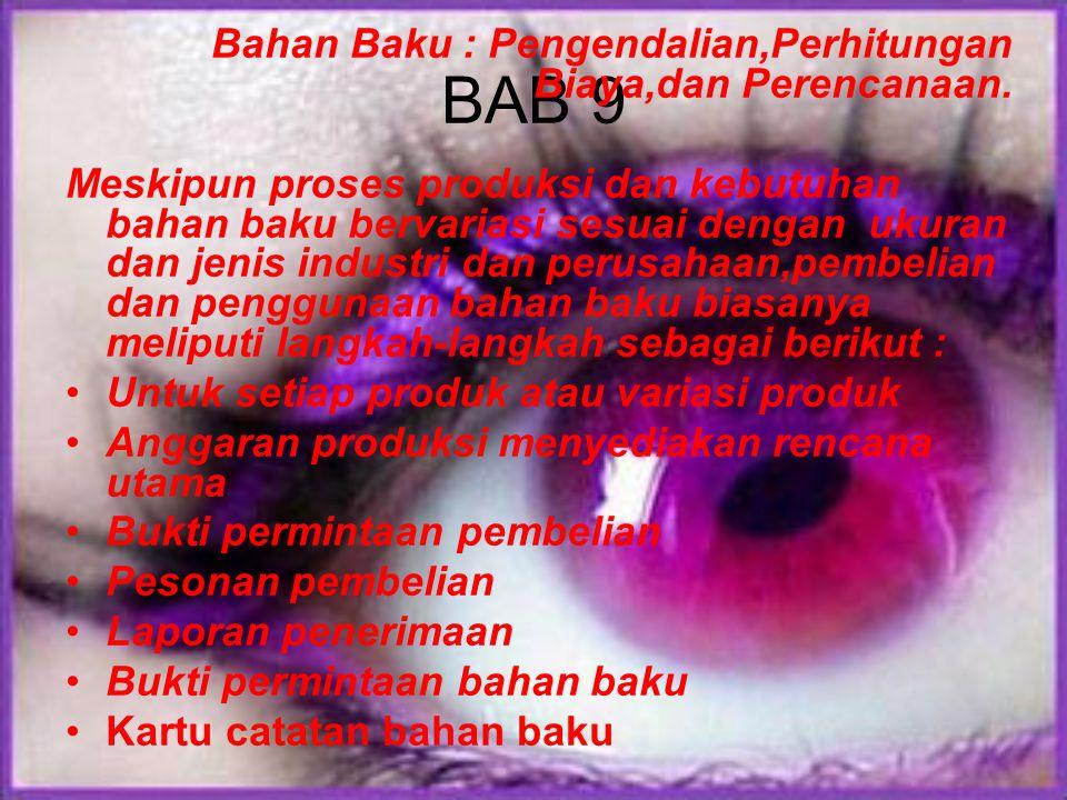 BAB 9 Bahan Baku : Pengendalian,Perhitungan Biaya,dan Perencanaan.