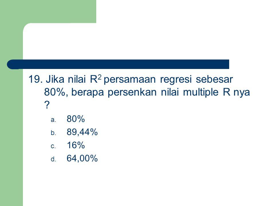 19. Jika nilai R 2 persamaan regresi sebesar 80%, berapa persenkan nilai multiple R nya ? a. 80% b. 89,44% c. 16% d. 64,00%