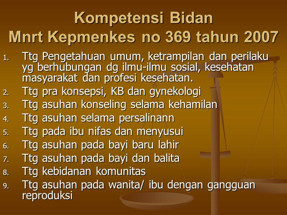 Kompetensi Bidan Mnrt Kepmenkes no 369 tahun 2007 1. Ttg Pengetahuan umum, ketrampilan dan perilaku yg berhubungan dg ilmu-ilmu sosial, kesehatan masy