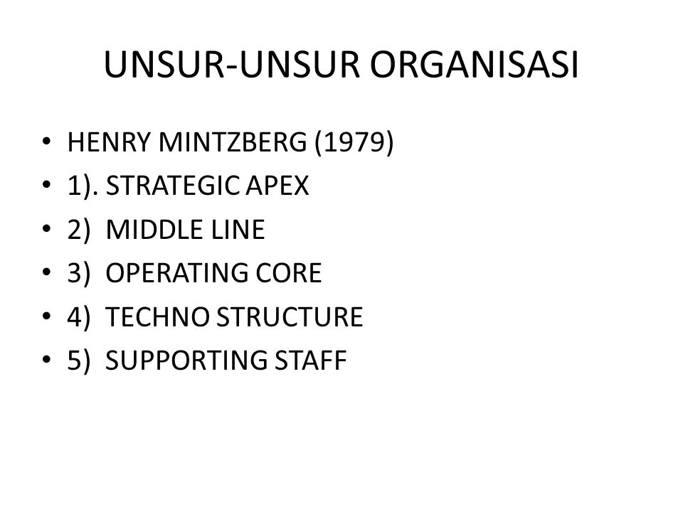 UNSUR-UNSUR ORGANISASI HENRY MINTZBERG (1979) 1).