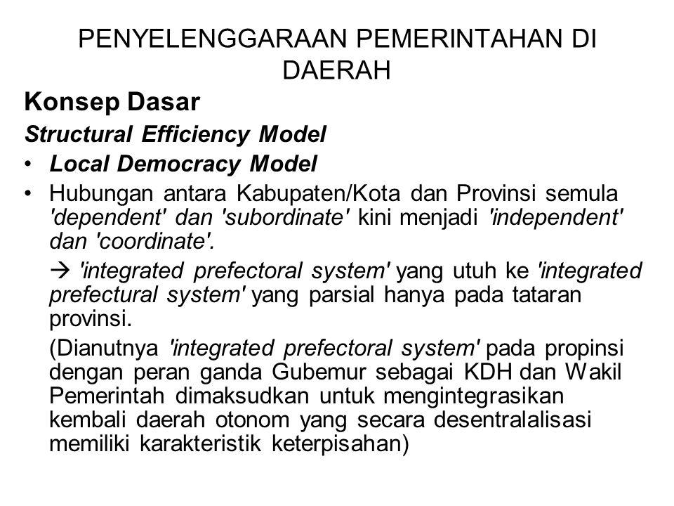 PENYELENGGARAAN PEMERINTAHAN DI DAERAH Konsep Dasar Structural Efficiency Model Local Democracy Model Hubungan antara Kabupaten/Kota dan Provinsi semula dependent dan subordinate kini menjadi independent dan coordinate .