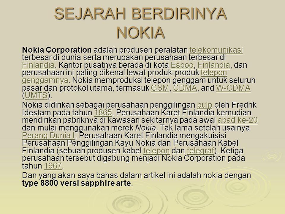 TUGAS APLIKASI KOMPUTER Nokia 8800 Sapphire Arte YUDHO PRAKOSO.S. NIM 08610083 Kelas aplikom 1B Universitas muhammadyah malang Tahun ajaran 2008-2009