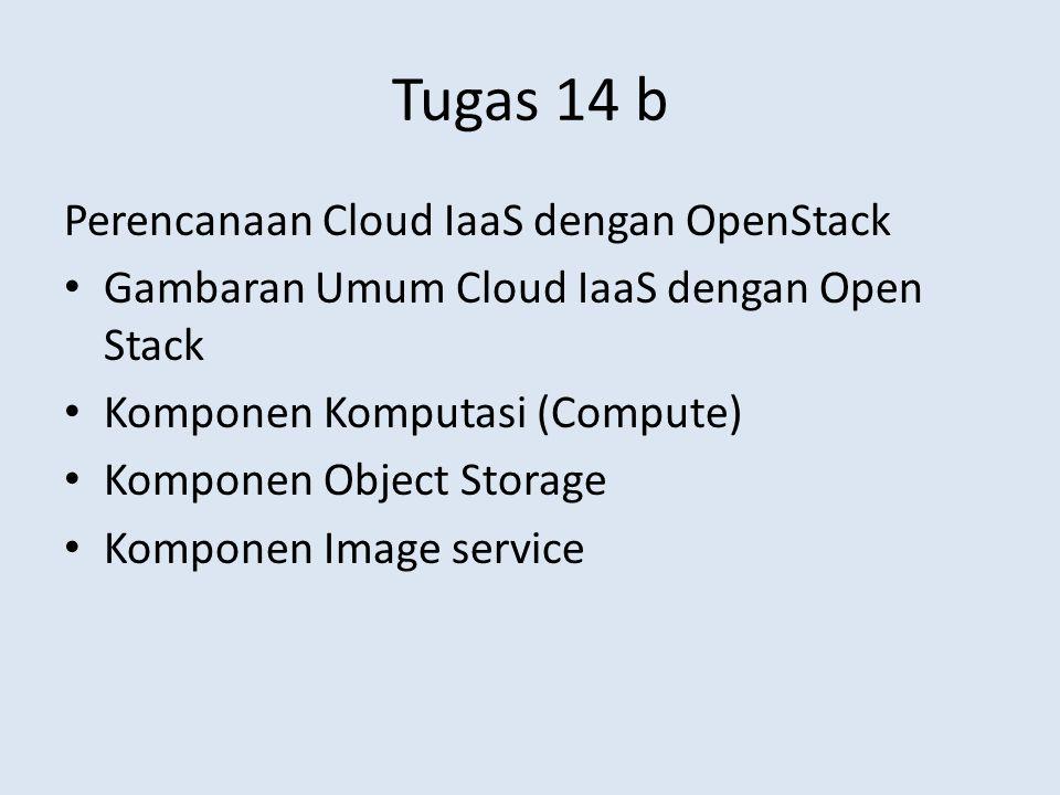 Tugas 14 b Gambaran Umum Cloud IaaS dengan Open Stack Topologi Perangkat Keras Perangkat Lunak Virtualisasi Integrasi Komponen – Skema Hubungan Antar Komponen