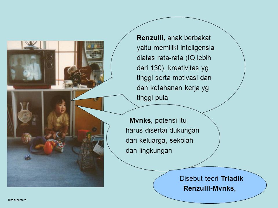 Bina Nusantara Lebih cenderung memilih teman yg memiliki kesebayaan usia intelektual daripada secara kronologis berada dlm usia yg sama.