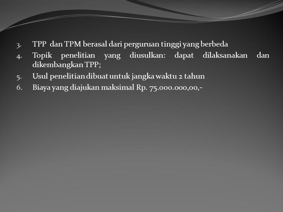 3. TPP dan TPM berasal dari perguruan tinggi yang berbeda 4. Topik penelitian yang diusulkan: dapat dilaksanakan dan dikembangkan TPP; 5. Usul penelit