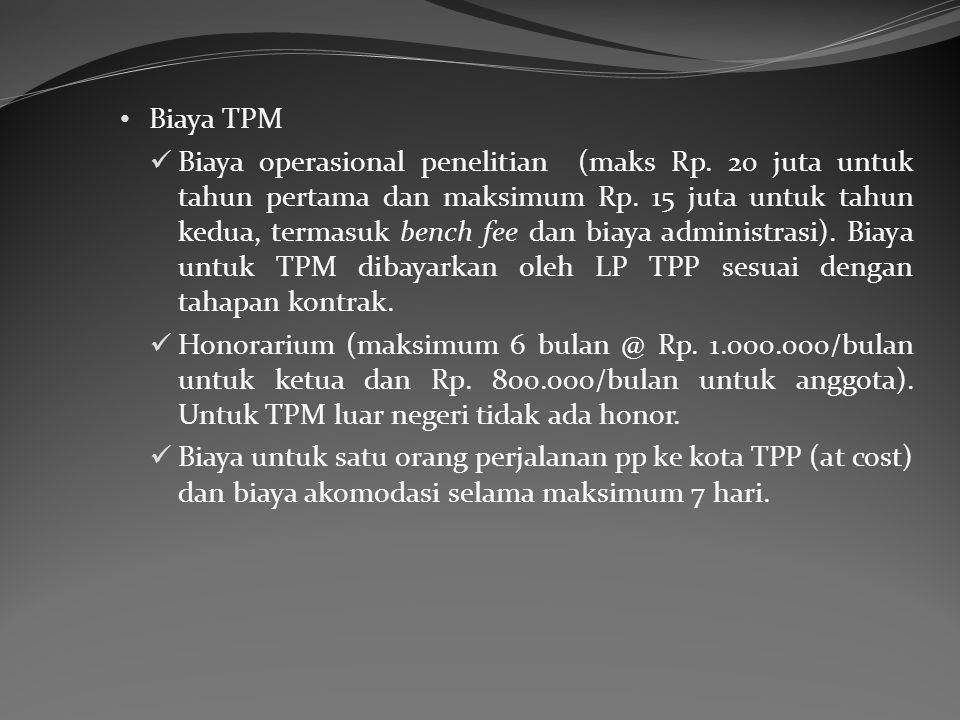 Biaya operasional penelitian (maks Rp.20 juta untuk tahun pertama dan maksimum Rp.