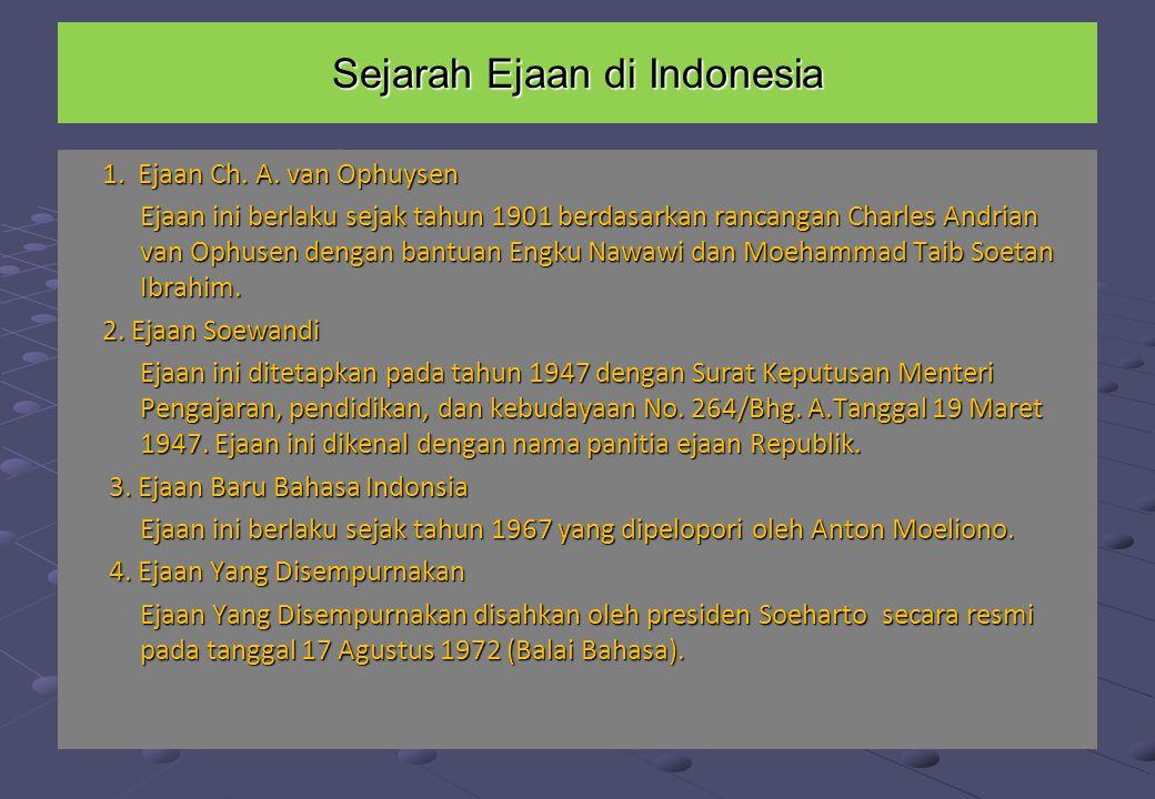 Sejarah ejaan Bahasa Indonesia Pemerintah sejak 28 Oktober 1928 (sumpah pemuda), sudah mencetuskan bahwa bahasa Indonesia sebagai bahasa nasinal di ta