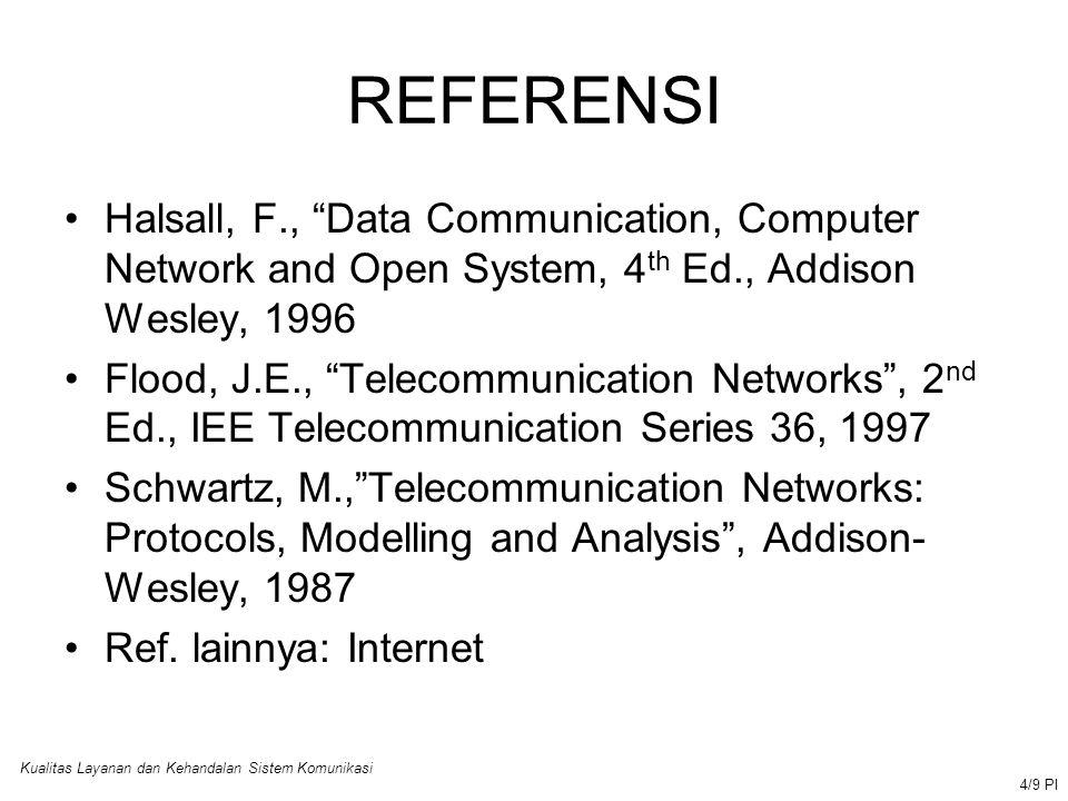 Kualitas Layanan dan Kehandalan Sistem Komunikasi 5/9 PI KRITERIA PENILAIAN NilaiPointRange A4  80 B365 -79 C255 -64 D140 -54 E0  39