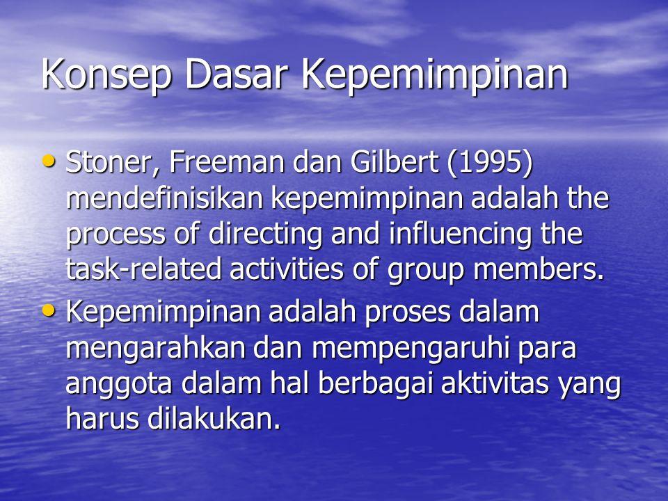 Konsep Dasar Kepemimpinan Stoner, Freeman dan Gilbert (1995) mendefinisikan kepemimpinan adalah the process of directing and influencing the task-rela