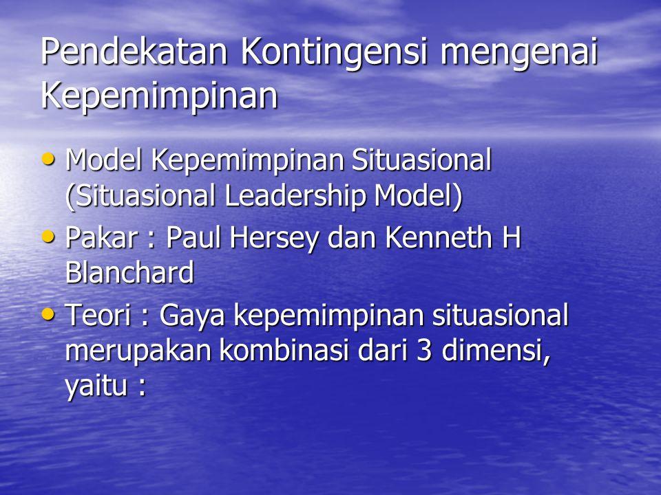 Pendekatan Kontingensi mengenai Kepemimpinan Model Kepemimpinan Situasional (Situasional Leadership Model) Model Kepemimpinan Situasional (Situasional