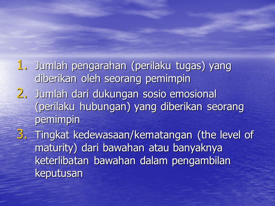 1. Jumlah pengarahan (perilaku tugas) yang diberikan oleh seorang pemimpin 2. Jumlah dari dukungan sosio emosional (perilaku hubungan) yang diberikan
