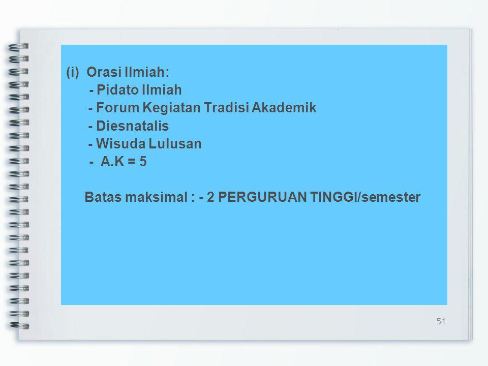 (i) Orasi Ilmiah: - Pidato Ilmiah - Forum Kegiatan Tradisi Akademik - Diesnatalis - Wisuda Lulusan - A.K = 5 Batas maksimal : - 2 PERGURUAN TINGGI/semester 51
