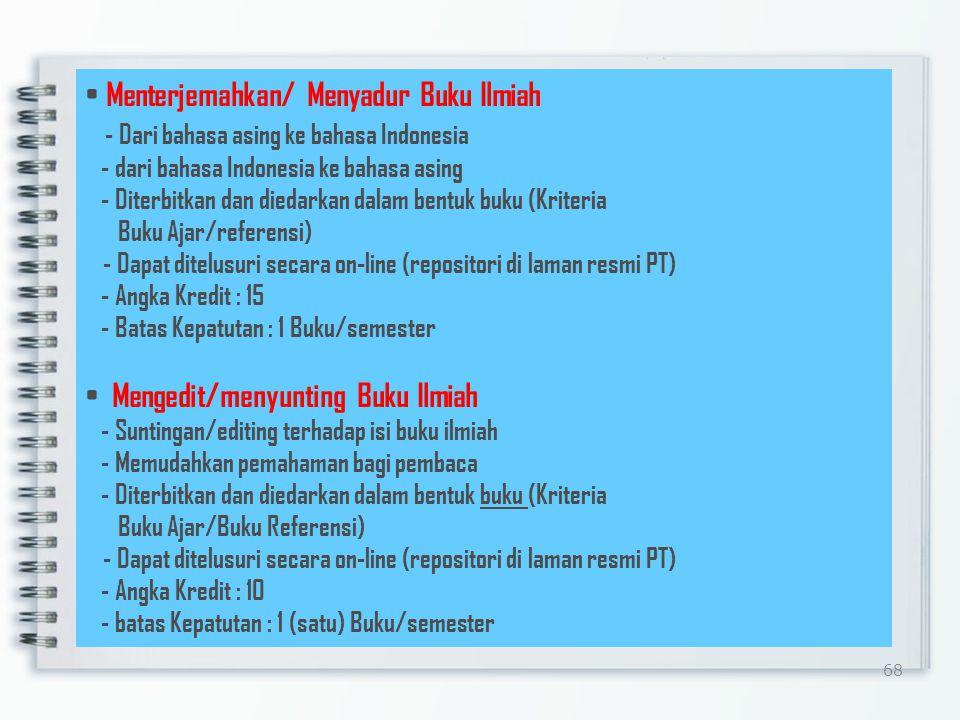 68 Menterjemahkan/ Menyadur Buku Ilmiah - Dari bahasa asing ke bahasa Indonesia - dari bahasa Indonesia ke bahasa asing - Diterbitkan dan diedarkan dalam bentuk buku (Kriteria Buku Ajar/referensi) - Dapat ditelusuri secara on-line (repositori di laman resmi PT) - Angka Kredit : 15 - Batas Kepatutan : 1 Buku/semester Mengedit/menyunting Buku Ilmiah - Suntingan/editing terhadap isi buku ilmiah - Memudahkan pemahaman bagi pembaca - Diterbitkan dan diedarkan dalam bentuk buku (Kriteria Buku Ajar/Buku Referensi) - Dapat ditelusuri secara on-line (repositori di laman resmi PT) - Angka Kredit : 10 - batas Kepatutan : 1 (satu) Buku/semester