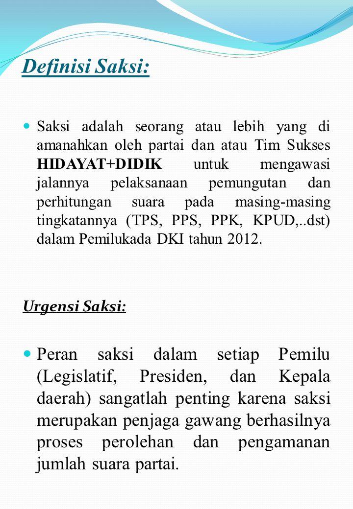 PANDUAN SAKSI &PENGAMANAN SUARA HIDAYAT+ DIDIK TIM ADVOKASI & PENGAMANAN SUARA HIDAYAT + DIDIK JAKARTA 2012