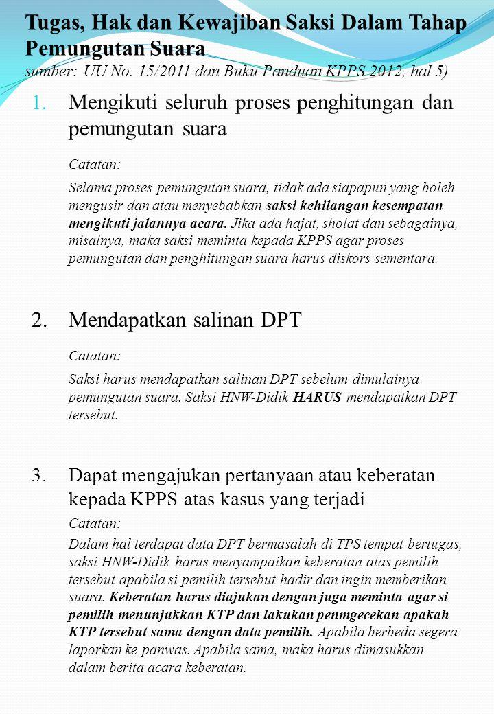 Tugas, Hak dan Kewajiban Saksi Dalam Tahap Pra Pemungutan Suara sumber: UU No.