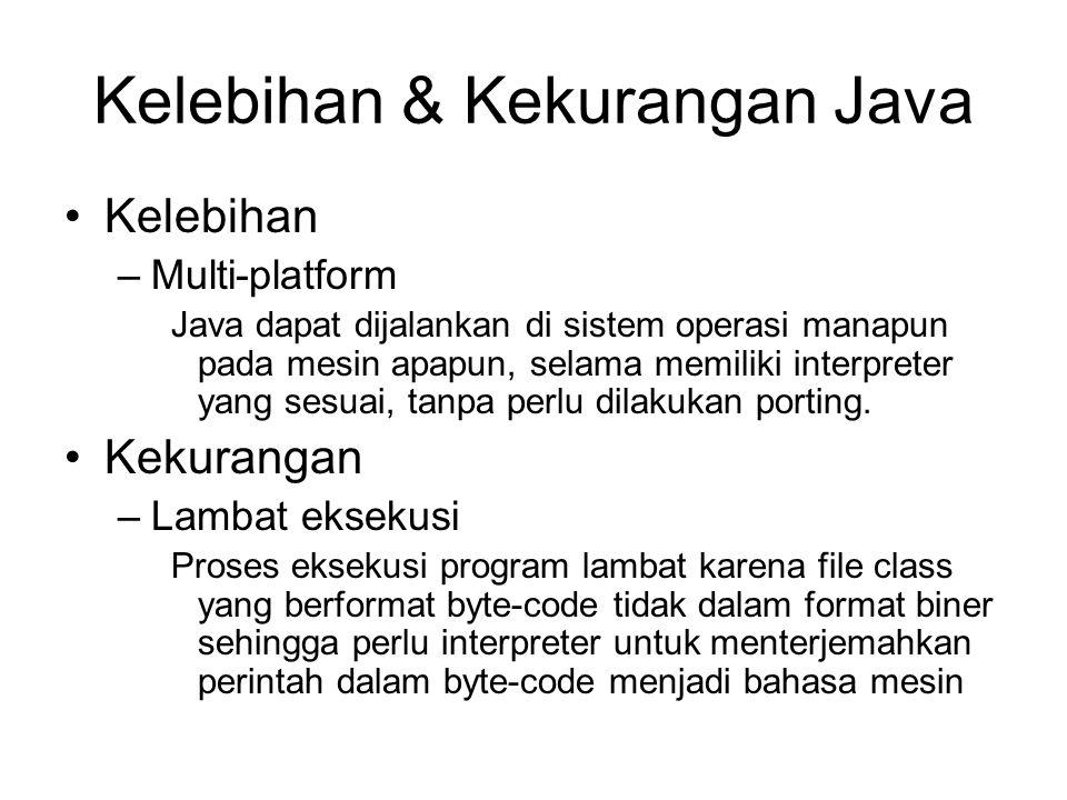 Kelebihan & Kekurangan Java Kelebihan –Multi-platform Java dapat dijalankan di sistem operasi manapun pada mesin apapun, selama memiliki interpreter yang sesuai, tanpa perlu dilakukan porting.