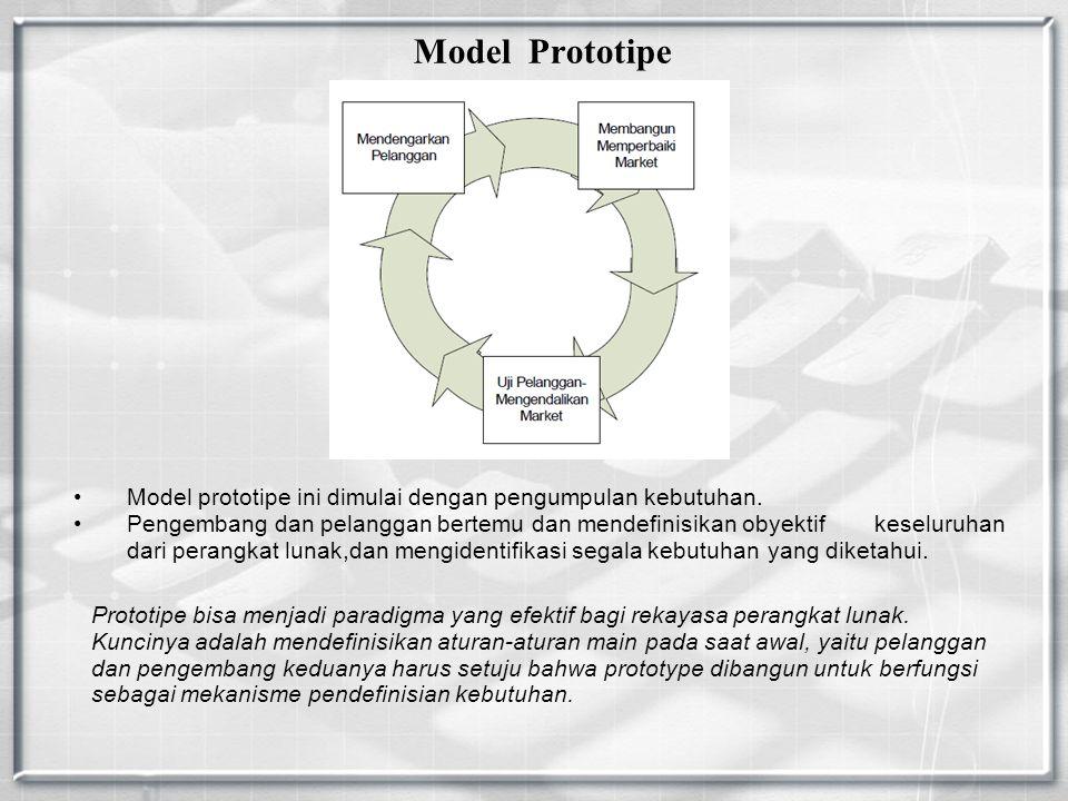 Model Prototipe Model prototipe ini dimulai dengan pengumpulan kebutuhan.